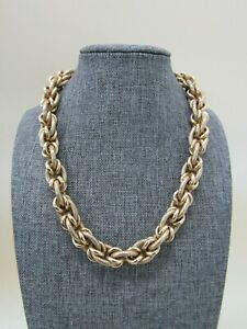 Vintage OWC 18k Yellow Gold 13mm Byzantine Chain Necklace Made in Italy 76g