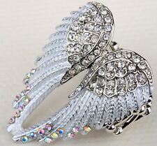 Angel Wings Stretch Ring Crystal Rhinestone Bling Jewelry Silver Clear RD01