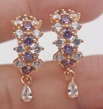 18K Yellow Gold Filled- Hollow Flower Cross Amethyst Topaz Lady Gems Earrings