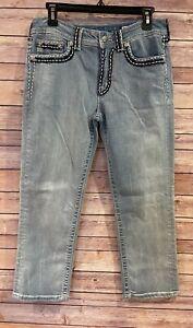 MISS ME Denim Women's Designer Rhinestone Boyfriend Capri Blue Jeans Size 28
