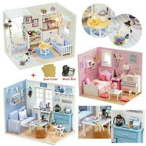 DIY Miniature 3D Wooden Dollhouse Model with Dust Cover - 27 options