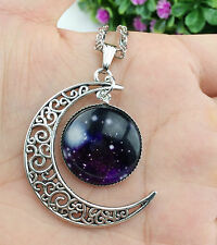 Hot Colorful Galaxy Glass Hollow Moon Shape Pendant Silver Tone Necklace XL43