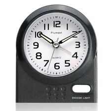 Travel Alarm Clock Plumeet Non Ticking Analog with Snooze and Nightlight Silent