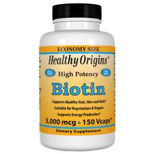 Biotine, 5000mcg X 150 Végétarien Capsules, Healthy Origins