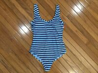 NWT Basic Editions Woman's Blue Striped One-Piece Swimsuit Padded Cups Size 10