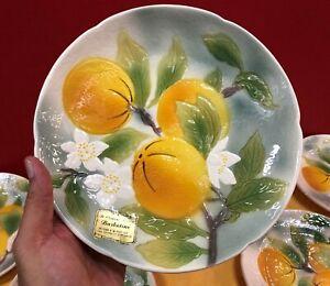 LUNEVILLE 7pc Orange Motif dessert set, NEW 2005