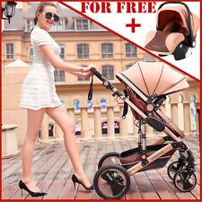Luxury Baby Stroller Newborn Pushchair W/ Infant Basket Car Seat Foldable Buggy