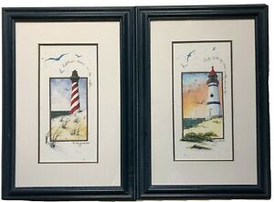 "D Morgan Lighthouse Print Lot of 2 Framed Matted 16""x11"" Beach Decor Ocean 1990s"
