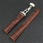 1x Black Brown Genuine Leather Watch Band Watch Strap Silver Butterfly Buckle