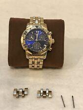 Tissot PRS200 T362/462 Men's Gold Tone Watch Chronograph Blue Dial, Diver 200M