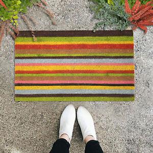 "GAURI KOHLI Natural Coir Doormat; Band of Colors Design (30"" X 18"")"
