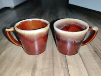 Vintage Set of 2 McCoy Pottery Brown Drip Glazed Coffee Tea Mugs Cups USA
