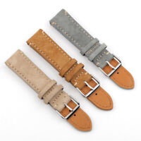 18-24mm Retro Leather Suede Watch Strap Bracelet Replacement Buckle Wrist Band