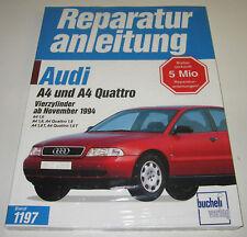 Reparaturanleitung Audi A4 Typ B5 Quattro + Frontantrieb + Turbo 1,6 / 1,8 NEU!