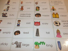 Adjectives Picture Word Flash Cards. Preschool through 3rd Grade. Laminated educ