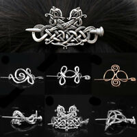 Women Retro Metal Knot Slide Hair Clips Viking Celtics Rune Hairpin Hair Stick