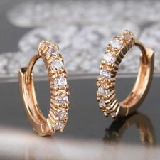 18ct Yellow Gold Filled Topaz Huggie Earrings Hoop Crystal White Sapphire Stones