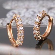 18ct Yellow Gold Filled Topaz Huggie Earrings Hoop Crystal White Sapphire Stones