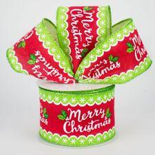 "2.5"" Whimsical Metallic Merry Christmas Holly Ribbon -1, 10 Yard Roll"