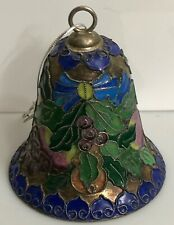 Cloisonne Enamel Bell Ornament Blue Holly Berries Pomegranate Christmas Holiday