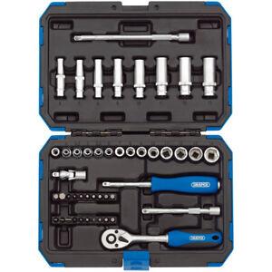 """Draper 16355 1/4"""" sq. Dr. Metric Socket Set Standard/Deep Torx Bits (47 Piece)"""