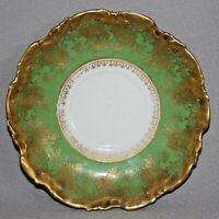 Antique LIMOGES Coiffe Mark 2 1891-1914 FRANCE SAUCER Green with Gold
