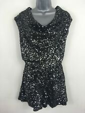 BNWT WOMENS FRENCH CONNECTION BLACK LUCINDA SEQUIN COWL NECK PLAYSUIT UK 8 £160