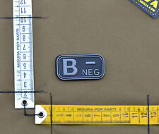 "PVC / Rubber Patch ""Small Blood Type B NEG - Black"" with VELCRO® brand hook"