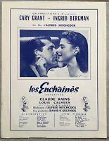 Plaquette LES ENCHAINES Notorious ALFRED HITCHCOCK Cary Grant INGRID BERGMAN *c