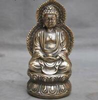"""6""""Old Tibet Buddhism Bronze Copper Sakyamuni Shakyamuni Tathagata Buddha Statue"""