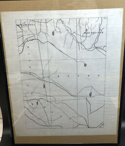 Antique 1800's Vellum Hand Drawn Railroad Map St. Lawrence County New York Area