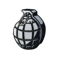 Embroidered Black White Hand Grenade Iron on Sew on Biker Patch Badge