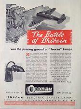 1941 Toucan lampe de sûreté, VINTAGE MAGAZINE Publicité Lumineuse, original, Bataille d'Angleterre