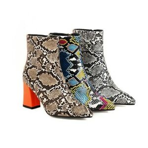 Womens Ankle Boots Snake Pattern High Heel Short Boot Pointed Toe Side Zip Shoes