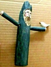 Hand Carved Folk Art St Francis or Noah w/ Bird Wood Figure Signed & Dated 1996
