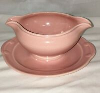 Taylor Smith Taylor*  TS&T* LURAY PASTELS *PINK * GRAVY BOAT w/ATTACHED PLATE*
