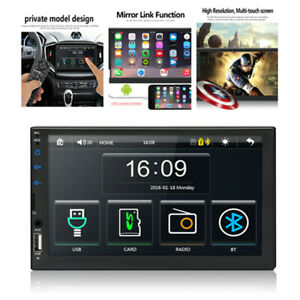 2Din Car Stereo FM Radio 7in Touch Screen Bluetooth MP5 Player With Mirror Link