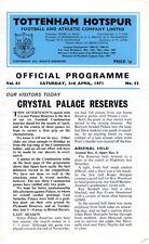 Tottenham V Crystal Palace réserves programme 3.4.1971