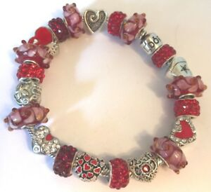 ❤️Authentic Silver PANDORA BRACELET with Red European Charms Beads Pandora Box❤️