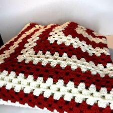 Vintage Afghan Crochet Handmade Throw Blanket Red White #A12