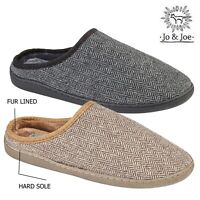 MENS SLIP ON SLIPPERS CLOG MULES FLEECE LINED BEDROOM HOUSE INDOOR LOUNGE SHOES