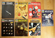 7 How And Why Books: Stars Insects Rocks Microscope Planes Weather Dinosaurs