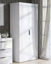 2 High Gloss Doors Wardrobe  Bedroom Storage Hanging Bar Clothes