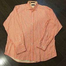 GUC Mens Lincs Orange/White Stripe Long Sleeve 100% Cotton Button Front Shirt-XL
