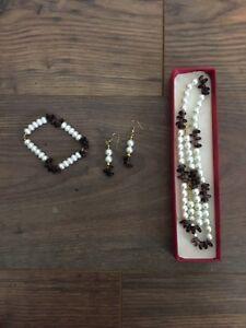 Genuine Pearl And  Amethyst Jewellery Necklace Earrings Bracelet Set