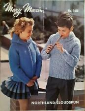 2 VINTAGE Mary Maxim Knitting Pattern BASIC CHILD'S SWEATERS No 1418 & 1419