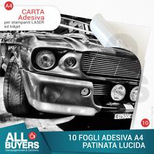 10 FG A4 CARTA ADESIVA BIANCA LUCIDA STAMPANTE LASER e InkJet getto d'inchiostro