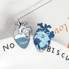 Cartoon Blue Ocean Wave Whale Anatomical Heart Enamel Pins Brooch Badges Gifts