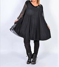 bildschönes Long Shirt/Tunika von CHALONA schwarz weite A-Linie Tüll 48 - 58 NEU