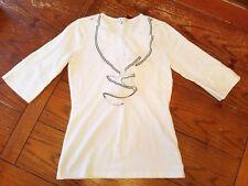Womens Cabi white ruffled chest 3/4 sleeve cotton shirt, Small